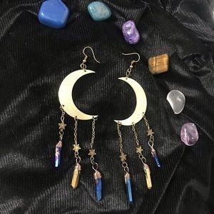 Crescent Moon Earrings Festival Boho Hippie Gypsy